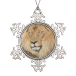 Adorable Lion Snowflake Pewter Christmas Ornament