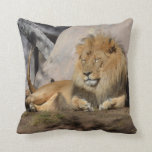 Lounging Lion Throw Pillow